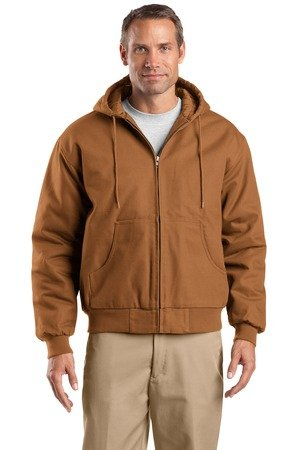 CornerStone Duck Cloth Hooded Work Jacket (J763H) Duck Brown - 4XL