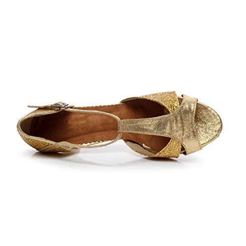 toe Sandals with Heel Practice Tango Heels Ballroom Open Salsa Womens Shoes 2 Dance Gold 75 Latin BCLN TnSEUE