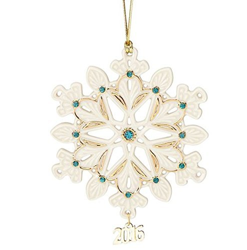 Lenox 2016 Annual Gemmed Snowflake Ornament Christmas Green Gold -
