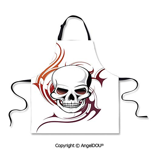 (SCOXIXI Waterproof Kitchen Aprons Woman Adult Scary Fierce and Wild Skull with Red Flames Tribal Artistic Tattoo Image Waterproof Aprons for Restaurant BBQ)