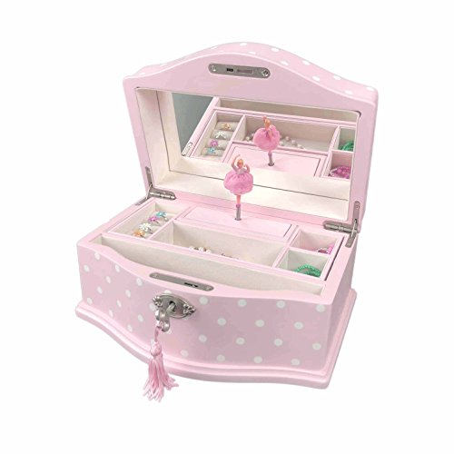 Art Lins Elle Ballerina Music Jewelry Box with Lock, Large, Wooden Case, Pink Dot (Locks Boxes With Jewelry)