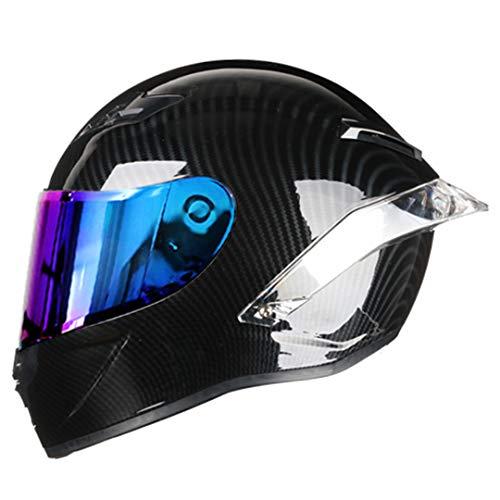 ShenZhiWing Carbon Fiber Full Face Motorcycle Helmet Racing Helmet Motocross Off Road Helmet Rainbow3 XL