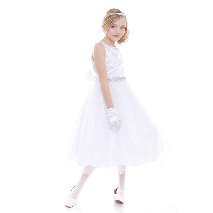 47ab9afa0f Amazon.com  Petite Adele Big Girls White Rhinestone Neckline Belt Flower  Girl Dress 8-20  Clothing