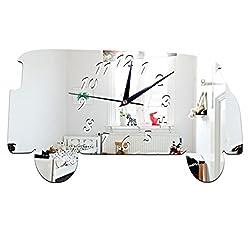 Wall Clock, Han Shi Wall Clock Modern Design Minibus Home Decor Watch Wall Sticker Office Decor Bedroom Decoration Craft Art Clock Quartz Nice Quiet Clock