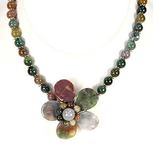 Multi Color Fancy Agate & Flower Pendant Silver Necklace 18