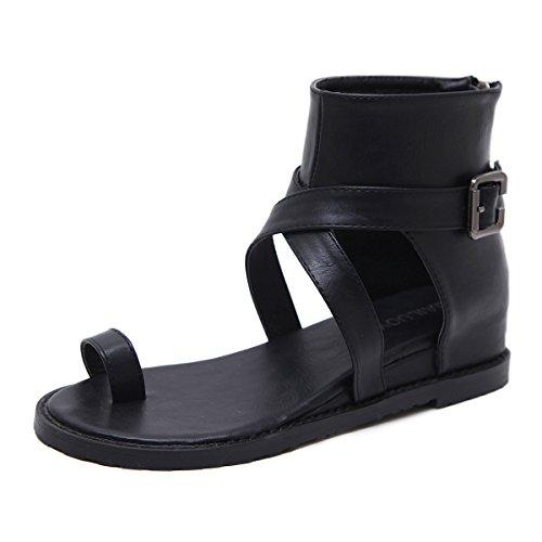 Mujer Puro Cuña Clip Verano Color Toe Aumento Cómoda Black Altura De Sandalias qZx56twq