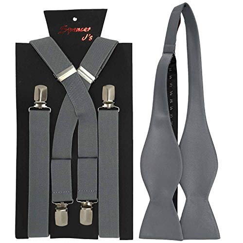 (Spencer J's Self Tie Bowtie and Suspender set Variety of Colors (Sharkskin))