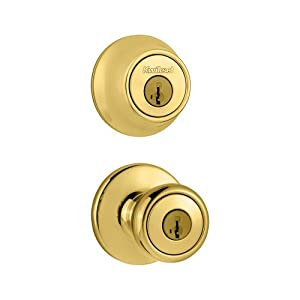 Kwikset 690 Tylo Entry Knob and Single Cylinder Deadbolt Combo Pack featuring SmartKey in Polished Brass