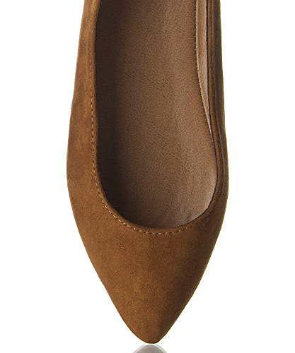 Pointed TAN 7 Leather Women's Toe TALIA Ballet 5 Flats Breckelles Faux pIFwn8
