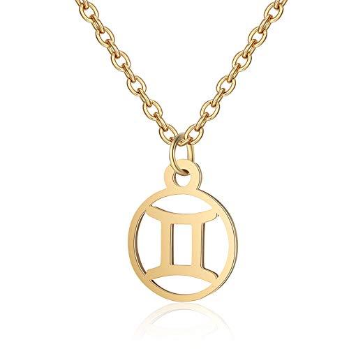 Funcok Womens Mens Zodiac Horoscope Gold-Plated Gemini Astrology Zodiac Pendant Necklace Gold