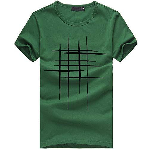KINGOL Men Summer Fashion Printing Tees Shirt Short Sleeve T Shirt Cotton Casual Blouse Green -
