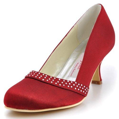 A0718 Rhinestones Burgundy Bridal Closed Wedding Heel Pumps Toe ElegantPark Shoes Mid Satin Women 8f4xq87wd