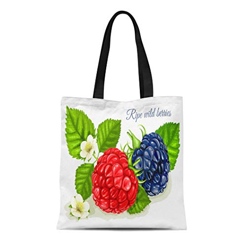 Semtomn Canvas Tote Bag Shoulder Bags Compotes Green Berry Raspberry and Blackberry Leaves Flowers Red Women's Handle Shoulder Tote Shopper Handbag
