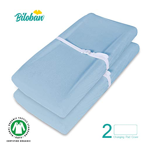 (Organic Changing pad Covers/Change Table Cover Sheets, Waterproof, 100% Organic Cotton, 2 Pack, Light Blue)