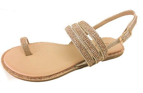 Pazzle Amber-09 Rose Gold 9 Women Rhinestone Embellished Thong Flat Sandal Wedding Bridesmaid. Toe Ring with Slingback strap.