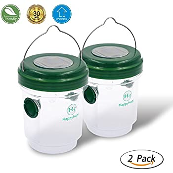Wasp Trap Catcher ( 2 pack )– HappyHomey Perfect Traps for Wasps, Yellow Jackets, Bees, Hornets, Effectively Lures, Retains Bees Until They Die
