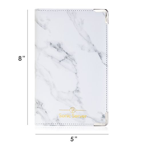Sonic Server Marble Style Deluxe Server Book for Restaurant Waiter Waitress Waitstaff | Classy White Marble | 9 Pockets includes Zipper Pouch with Pen Holder | Holds Guest Checks, Money, Order Pad by Sonic Server (Image #2)
