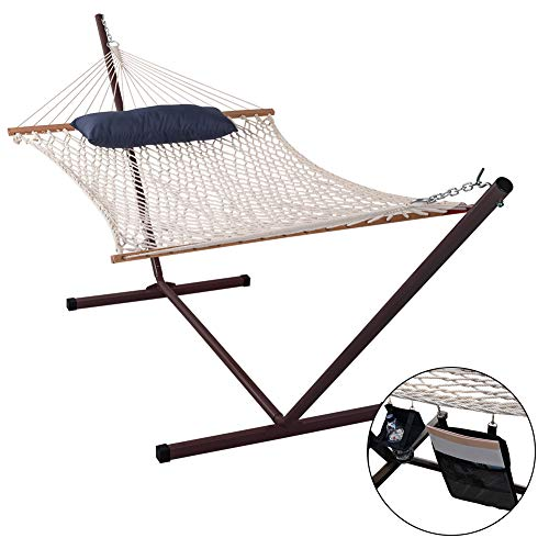 (Lazy Daze Hammocks Cotton Rope Hammock with 12 Feet Steel Stand and Pillow Combo)
