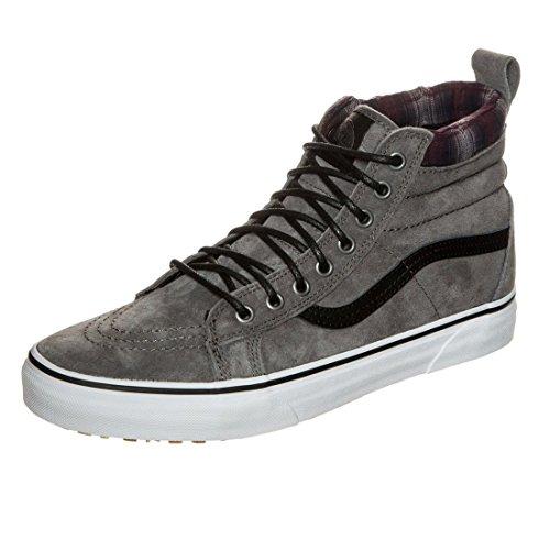 Vans V00XH4JTG Unisex SK8-Hi MTE Skate Shoes, Pewter/Plaid, 9 B(M) US Women / 7.5 D(M) US Men (Vans Plaid Shoes)
