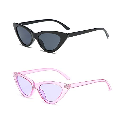YOSHYA Retro Vintage Narrow Cat Eye Sunglasses for Women Clout Goggles Plastic Frame (Black Grey + Clear ()