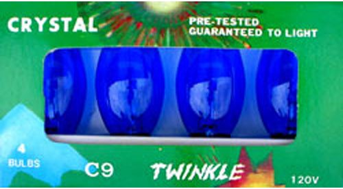 C-9 Blue Transparent Replacement Bulbs for Twinkle Lights or Blinking -