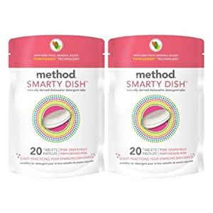 Method Products Smarty Dish Dishwasher Detergent Tabs, Pink Grapefruit 20 ct (Pack of 2)