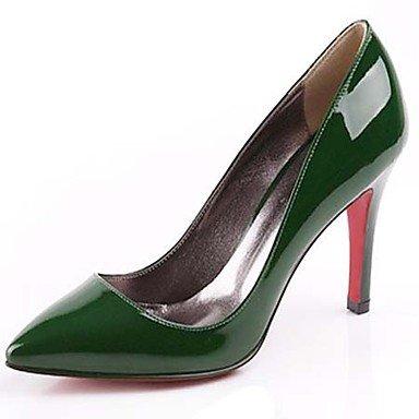 cirior Mujer High Heels Stöckel Super tacón Barniz Piel Mujeres párrafos Puntiaguda Zapatos Pumps tacón verde