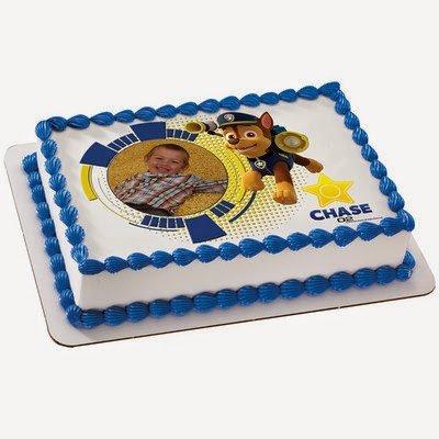 1/4 Sheet Cake - Paw Patrol Chase - Edible Photo Frame Cake Topper - D18730