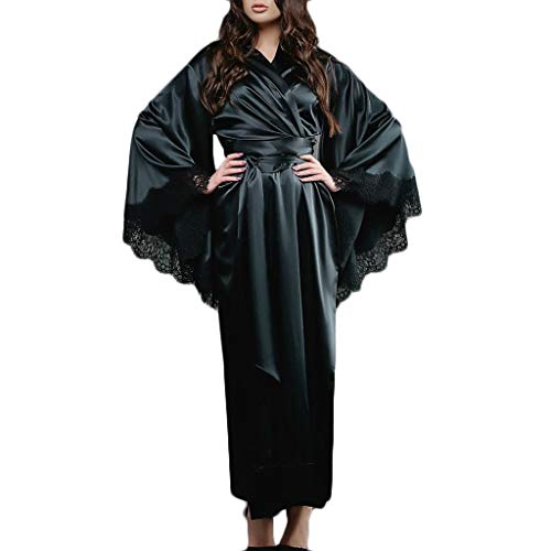 DORIC Women Sexy Lace Satin Kimono Long Robe Bathrobe Lingerie Sleepwear Belt Pajamas Black ()