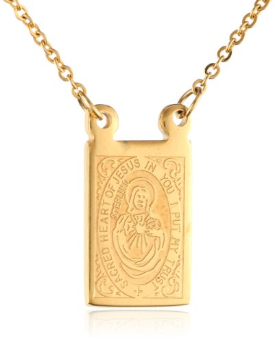 Men's Stainless Steel 18K Gold Plated Scapular Religious Necklace, 26