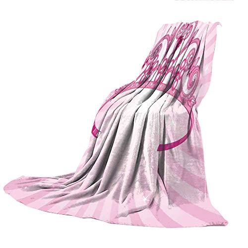 SCOCICI Comfortable Printing Blanket and Washing Machine Washable,Kids,Beautiful Pink Fairy Princess Costume Print Crown with Diamond Image Art Decorative,59.06
