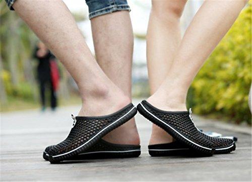 Bininbox Heren Platte Sandaal Ademende Schoen Gesloten Teen Slippers Hol Zwart
