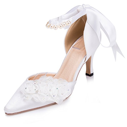 Kevin Fashion ZMS1507 Womens Pointed Toe Satin Bridal Wedding Party Evening Prom Pumps Shoes Ivory I1uLihl0V