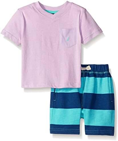 Nautica Baby Boys' Crew Neck Tee/Stripe Short Set