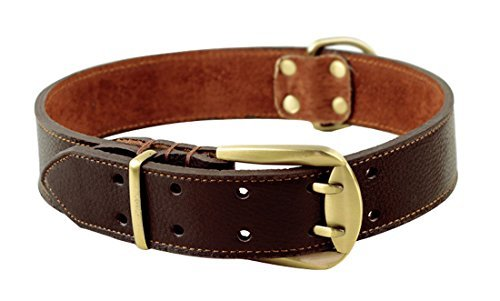 (ZEEY Pet Strong Leather Adjustable Collar for Large Dogs, Neck 59cm to 70cm and 4cm Wide, Double Belt Buckle Pet Dog Collar With Strong Dog Leash Hook (Brown))