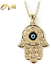 Filigree Charm Hamsa Hand of Fatima Blue Lucky/Evil Eye Protection Amulet Pendant Necklace