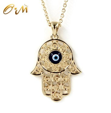 Onairmall Filigree Charm Hamsa Hand of Fatima Blue Lucky/Evil Eye Protection Amulet Pendant Necklace