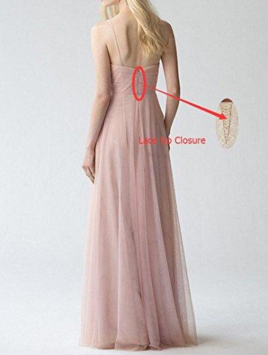 Yilis Womens Spaghetti Straps Bridesmaid Dress V-neck Tulle Long Lace Prom Dress at Amazon Womens Clothing store: