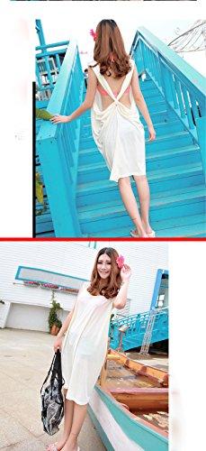 Bianca Involucro Beachwear Paletta Occultamenti Spiaggia Collo Abito Backless Donne Solido Lungo aIvqwvd