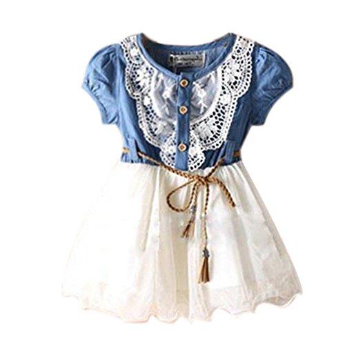 Urparcel Baby Girls Lace Tutu Denim Dress Short Sleeves Princess Party Skirts