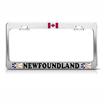 Amazon Com Canadian Flag Newfoundland Chrome Metal License