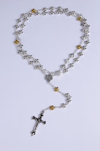 Holy Land Cross Pewter Crucifix Silver and Golden Beads Rosary Jerusalem