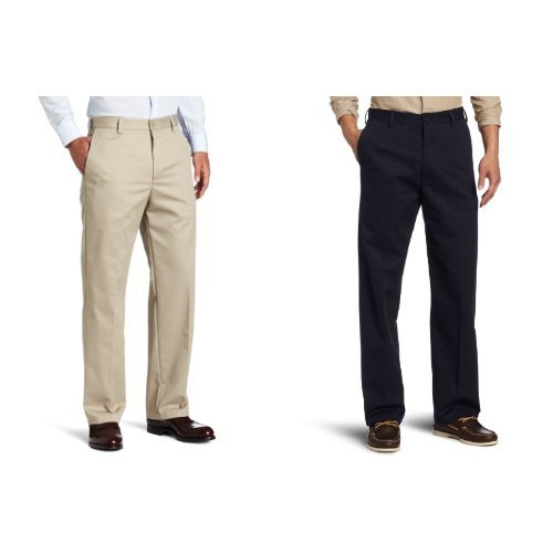IZOD Men's American Chino Flat Front Straight-Fit Pant, Khaki and Navy, 38W x 32L