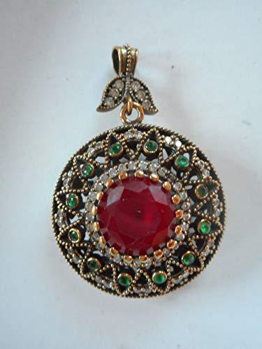 (nysk dream Antique Turkish Ottoman Gold Vermeil on 925 Silver Diamond Ruby Emerald Pendant Round)