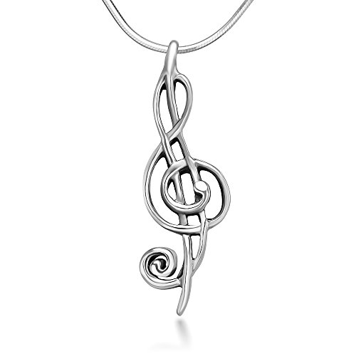 Chuvora Sterling Silver 26 mm Treble G Clef Musical Melody Note Musician Pendant Necklace 18''