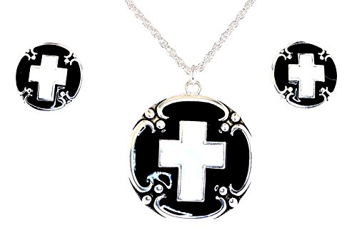 Mevoi Black and White Epoxy Cross Necklace OR Clip-on Earrings OR Necklace/Clip-on Earrings Set (Necklace Earring Set) by Mevoi