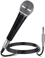 ميكروفون صوتي ديناميكي احترافي - ميكروفون محمول ديناميكي قلبي، احادي الاتجاه مزود بمفتاح تشغيل/ايقاف، يحتوي على كابل صوت اكس ال ار بطول 4.5 م الى كابل صوتي 1/4 بوصة - من بايل، PDMIC59