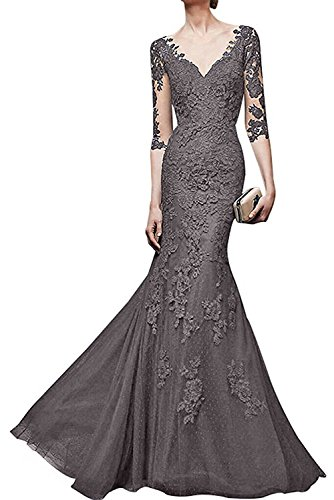 Meerjungfrau Partykleider La Kleider Abendkleider V Grau Dunkel Orange mia Damen Ausschnitt Jugendweihe Braut pxxwvRHqWU