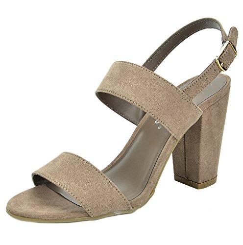 TOETOS Women's STELLA-01 Taupe Open Toe Mid Chunky Heel Pump Sandals - 10 M US