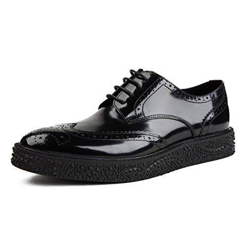 Zapatos Clásicos de Piel para Hombre Zapatos de cuero para hombres Zapatos de encaje para negocios con estilo británico ( Color : Negro , Tamaño : EU39/UK6 ) Negro